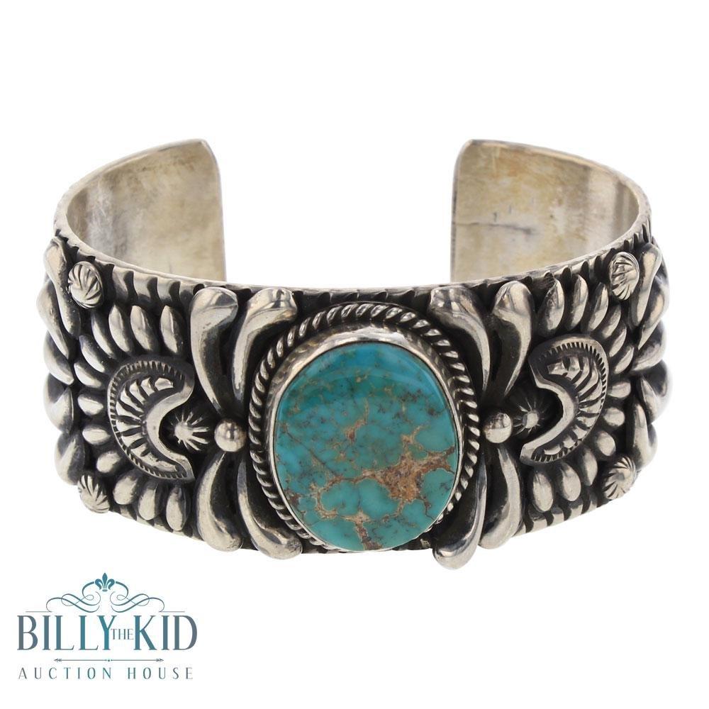 Darryl Becenti Nevada Turquoise  Bump out Stamp Cuff