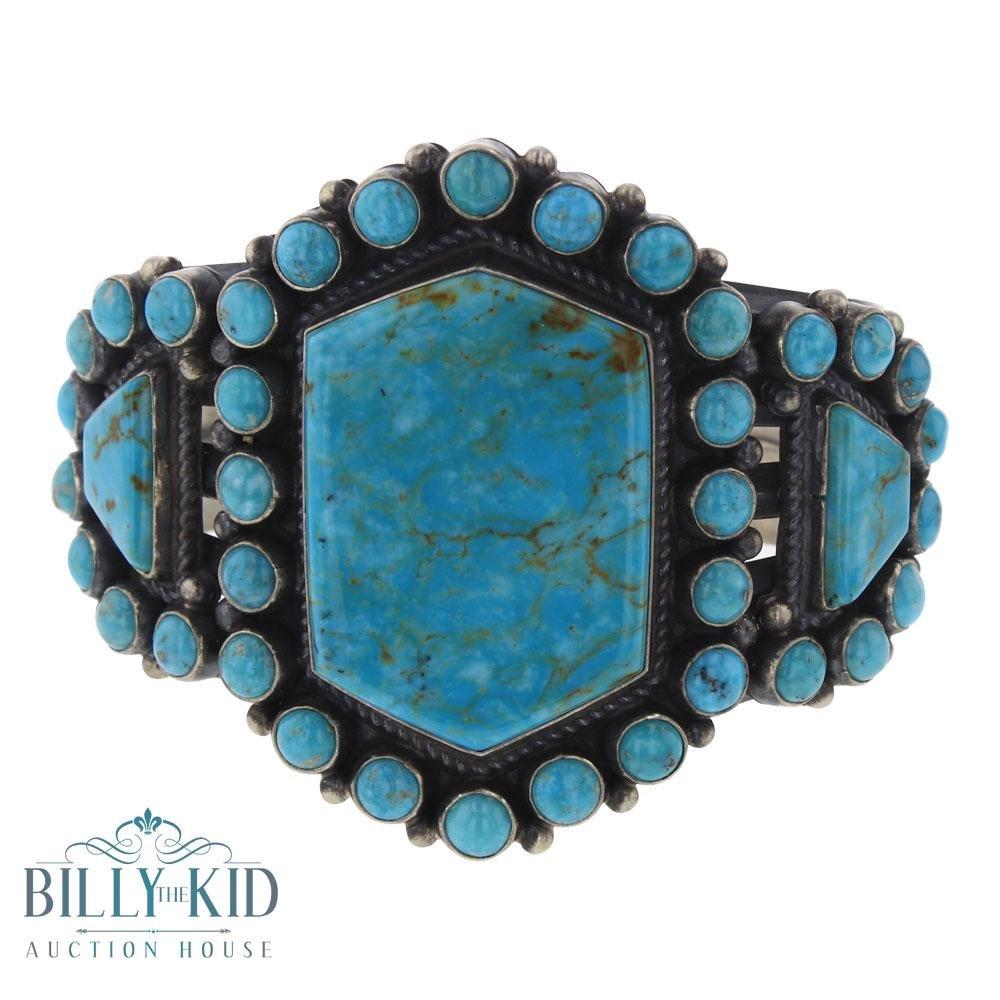A. S Kingman Turquoise Cluster Cuff Bracelet