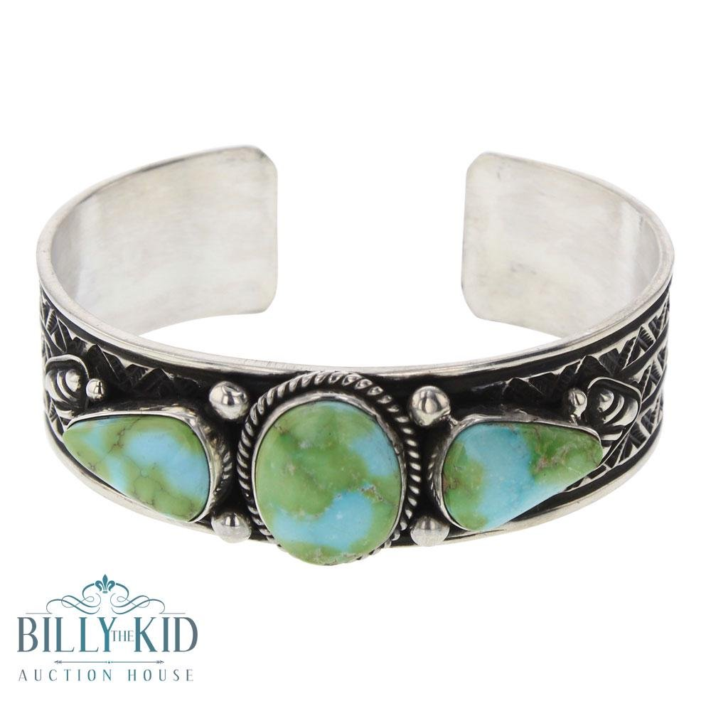 J. O White Sonoran Gold Turquoise Three Stone Cuff
