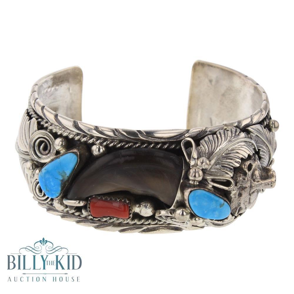 T. Turquoise & Coral Bear Claw Leaf Cuff Bracelet