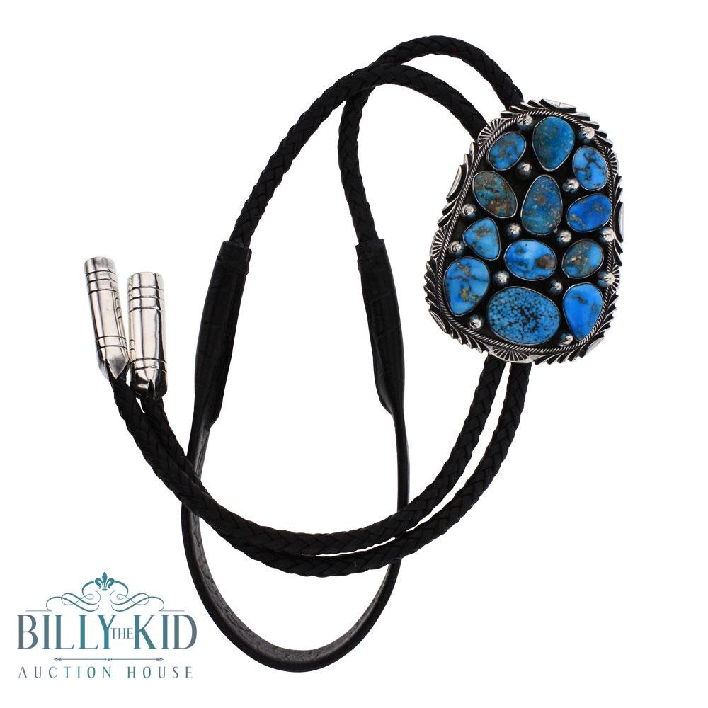 Mark Yazzie Sonoran Rose Turquoise Spike  Bolo Tie