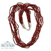 10 Strand Bamboo Coral Silver Heishe Beads Necklace