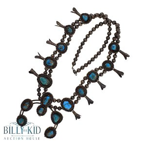 Old Pawn Old Nevada Turquoise Squash Blossom Necklace