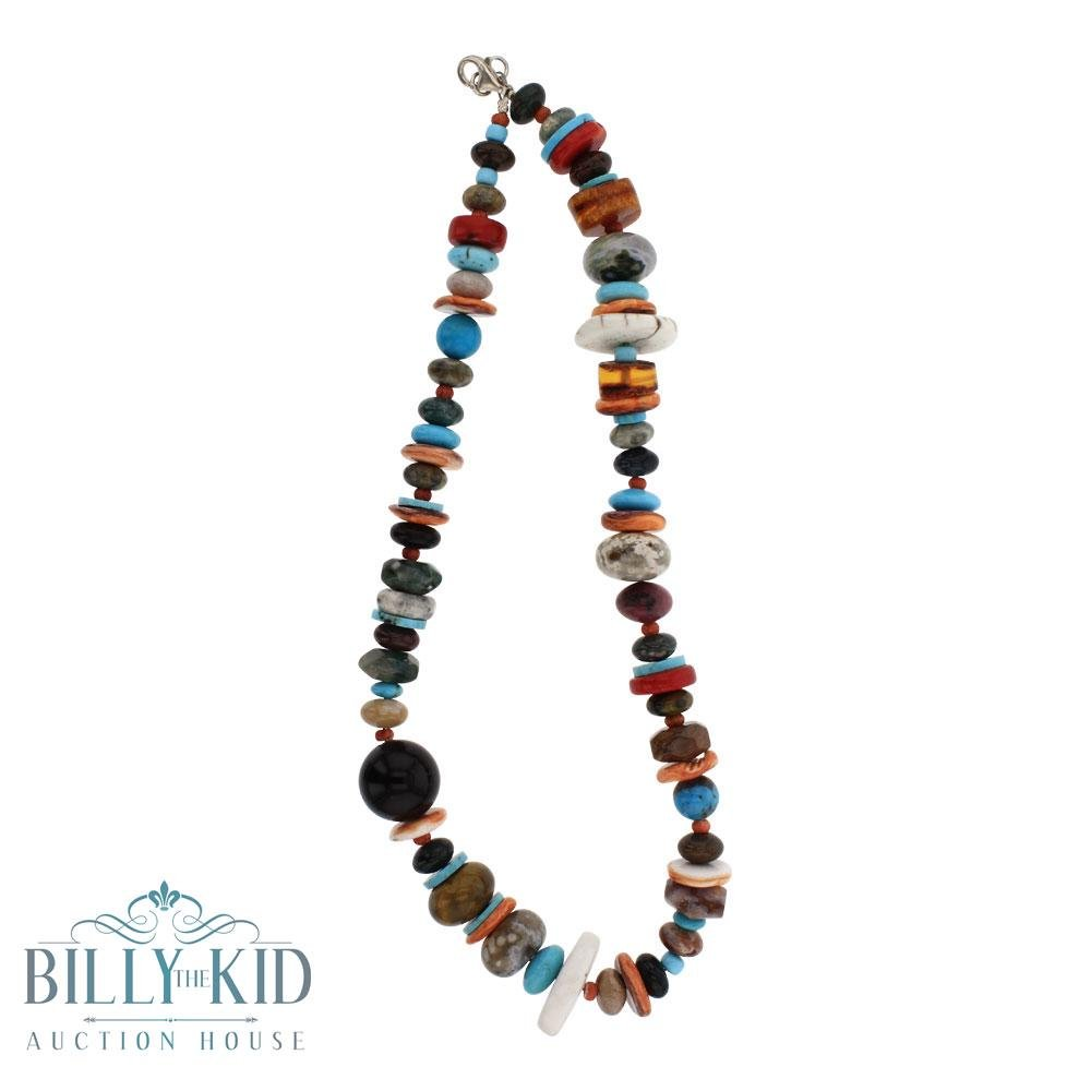 Navajo Strung Mixed Stones Treasure Bead Necklace