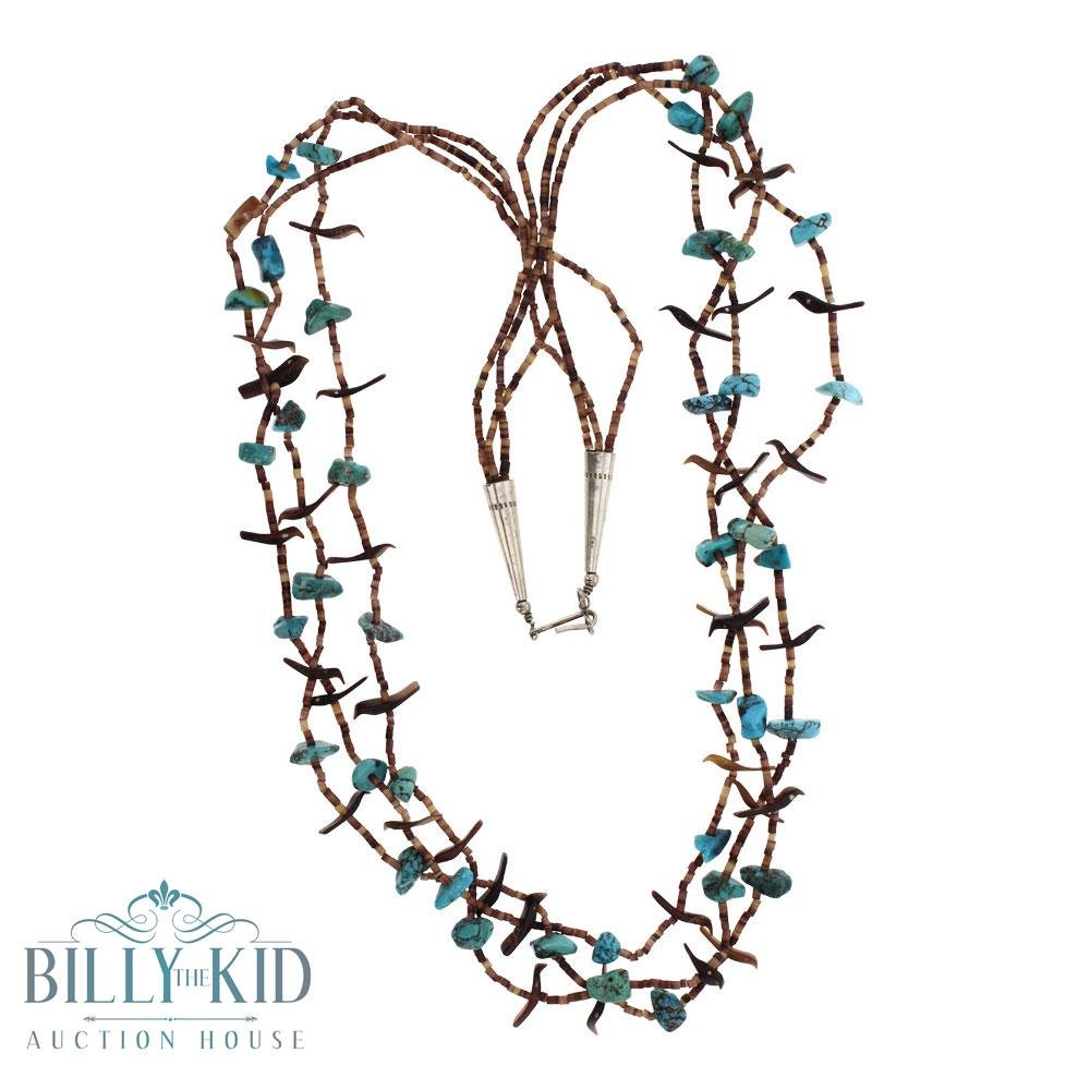 Three Strand Turquoise & Shell Carved Fetish Necklace