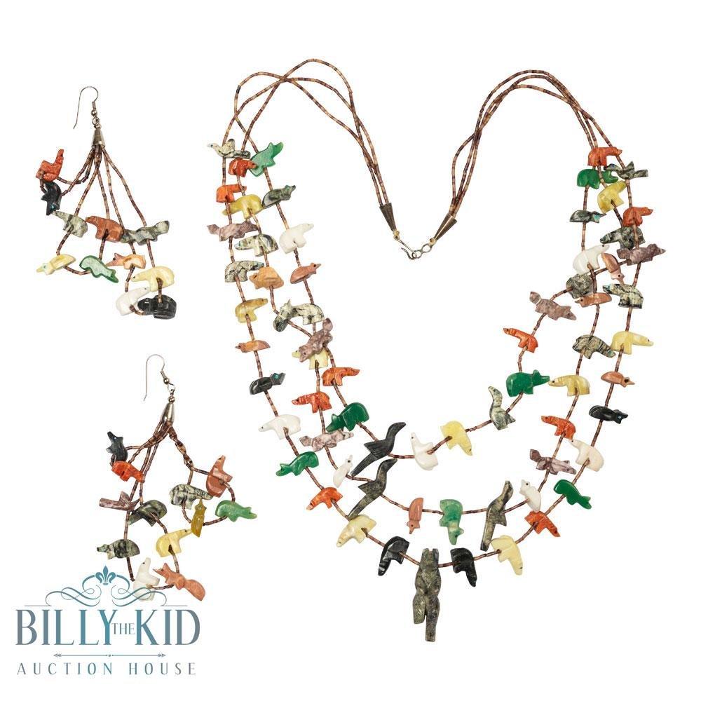 Vintage Three Strand Zuni  Bear Fetish Necklace