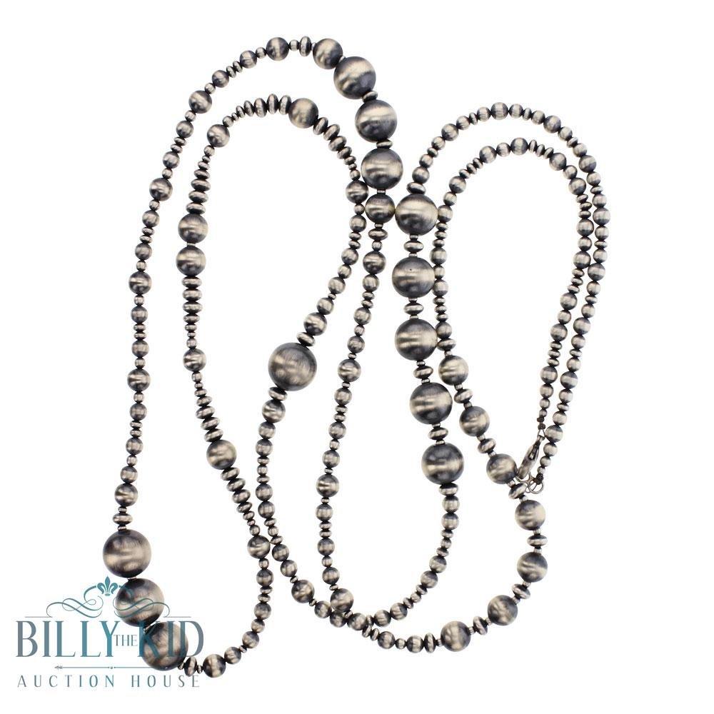 """Sterling Silver Navajo Strung 60"""" Mixed Beads Navajo"""