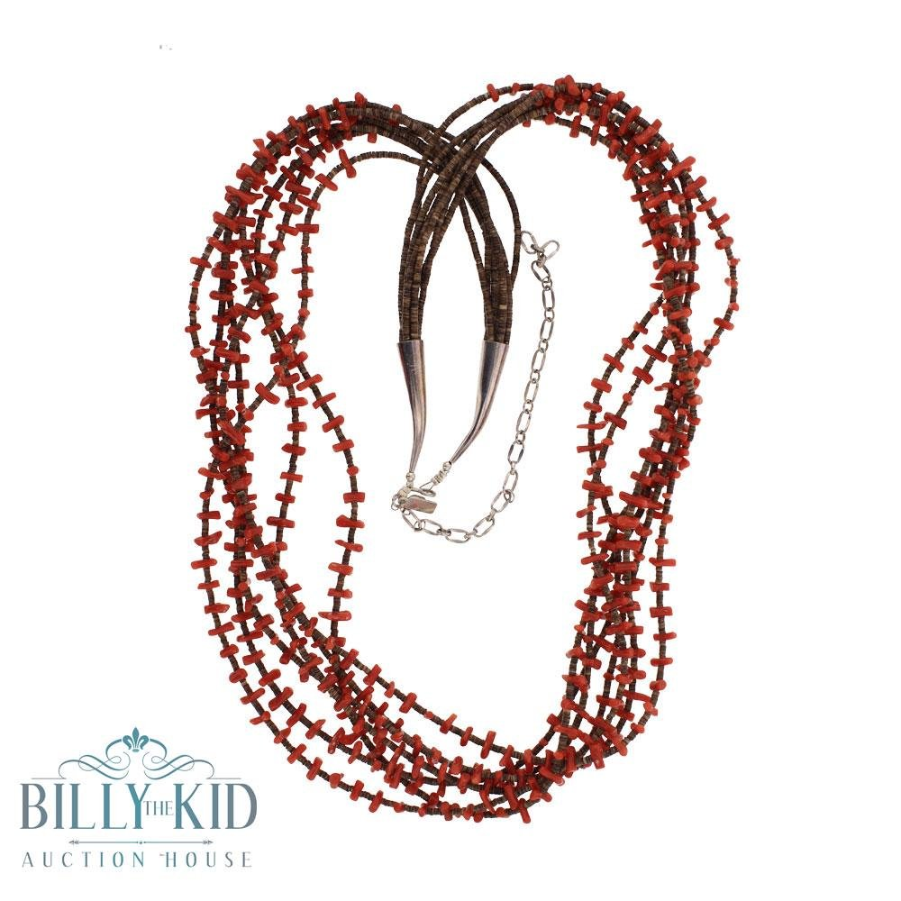 Seven Strand Pen Shell Freeform Coral Necklace