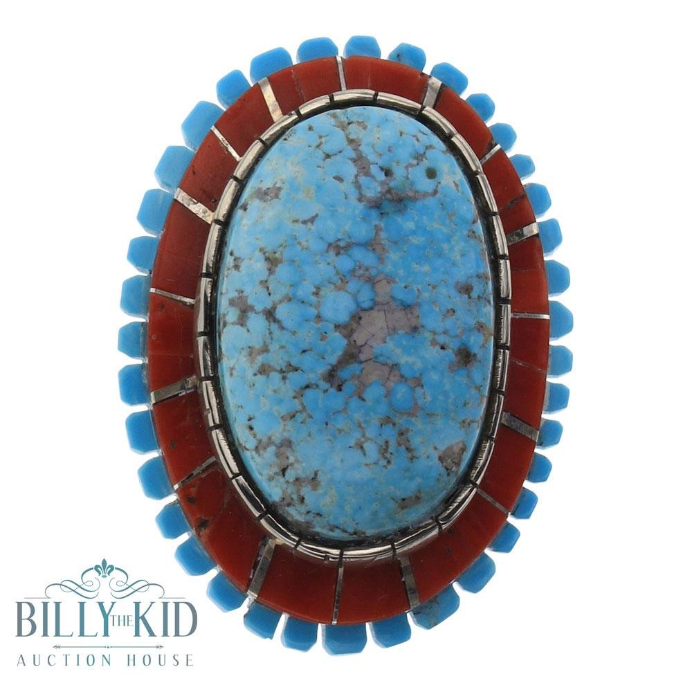 Merle House Kingman Turquoise & Coral Inlay Ring