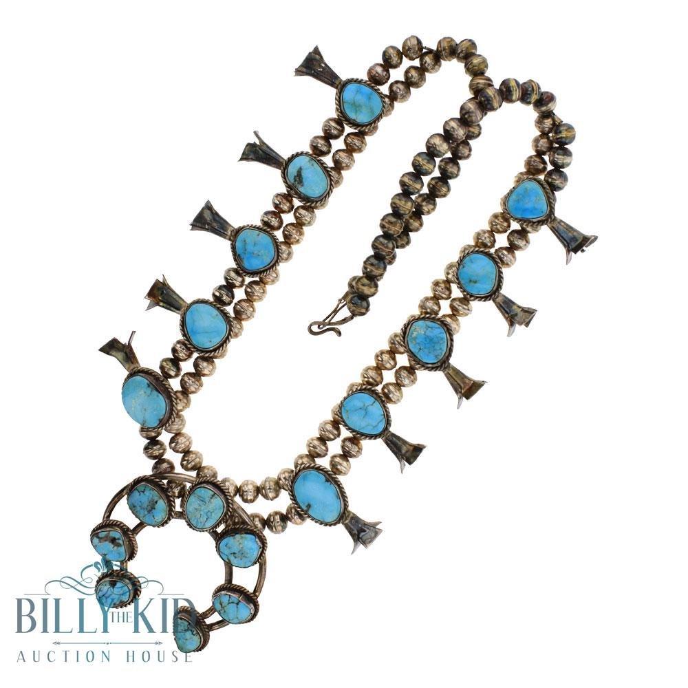Vintage Pawn Blue Ridge Turquoise Squash Blossom