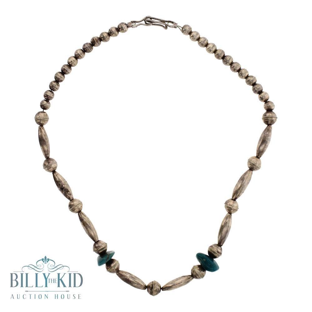 Old Pawn Bench Beads Necklace With Turquoise