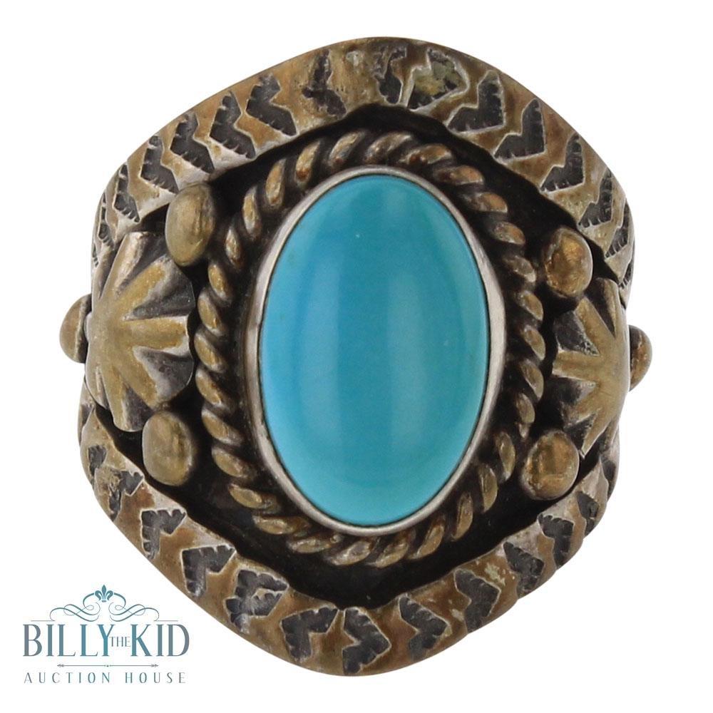 Old Pawn Raymond Beard Sleeping Beauty Turquoise Ring