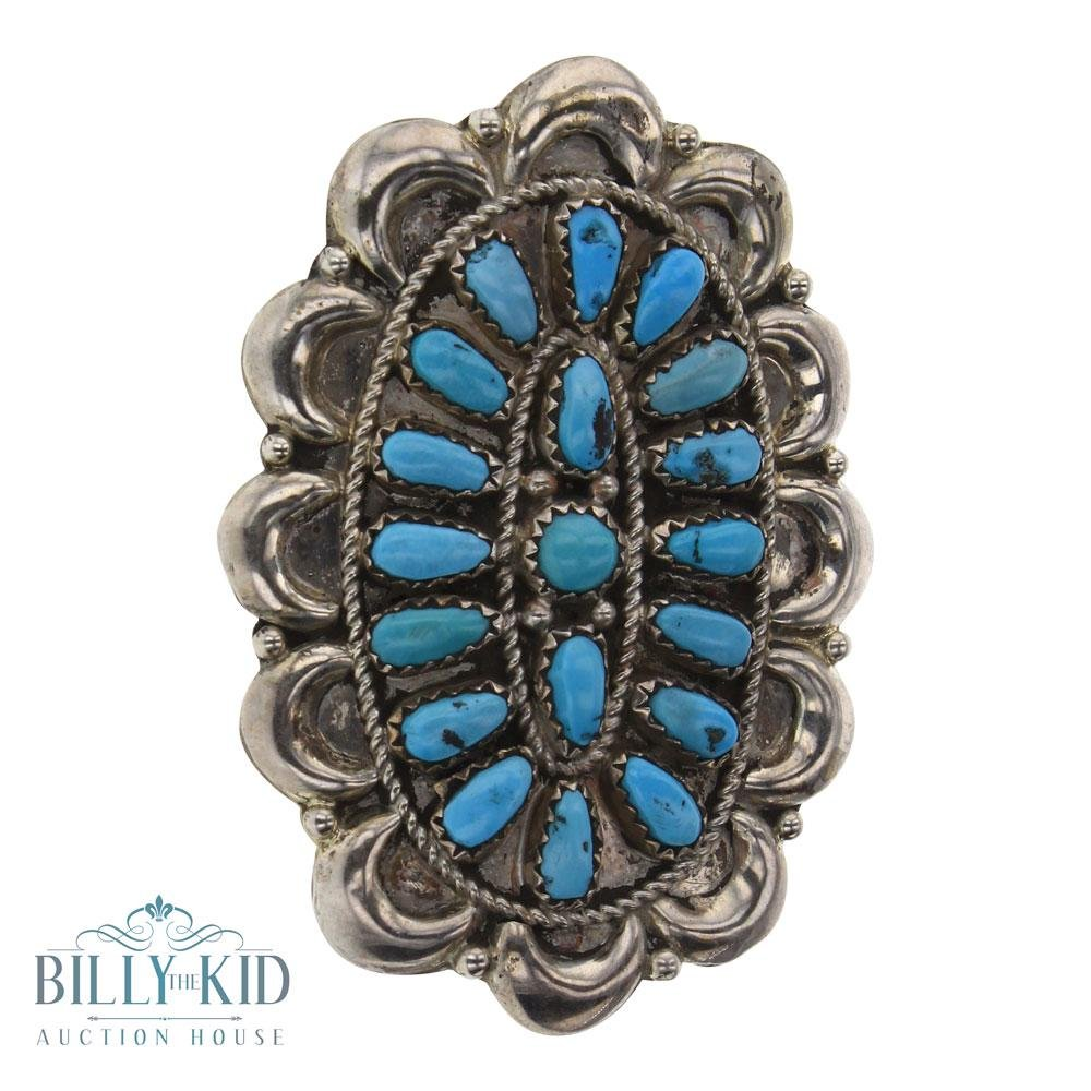 JW Old Pawn Kingman Turquoise Cluster Ring