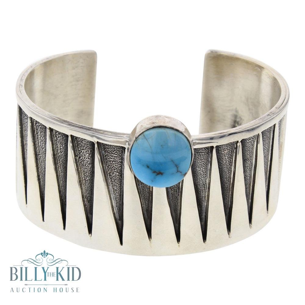 Randy Bill Contemporary Candelaria Turquoise Wide Cuff