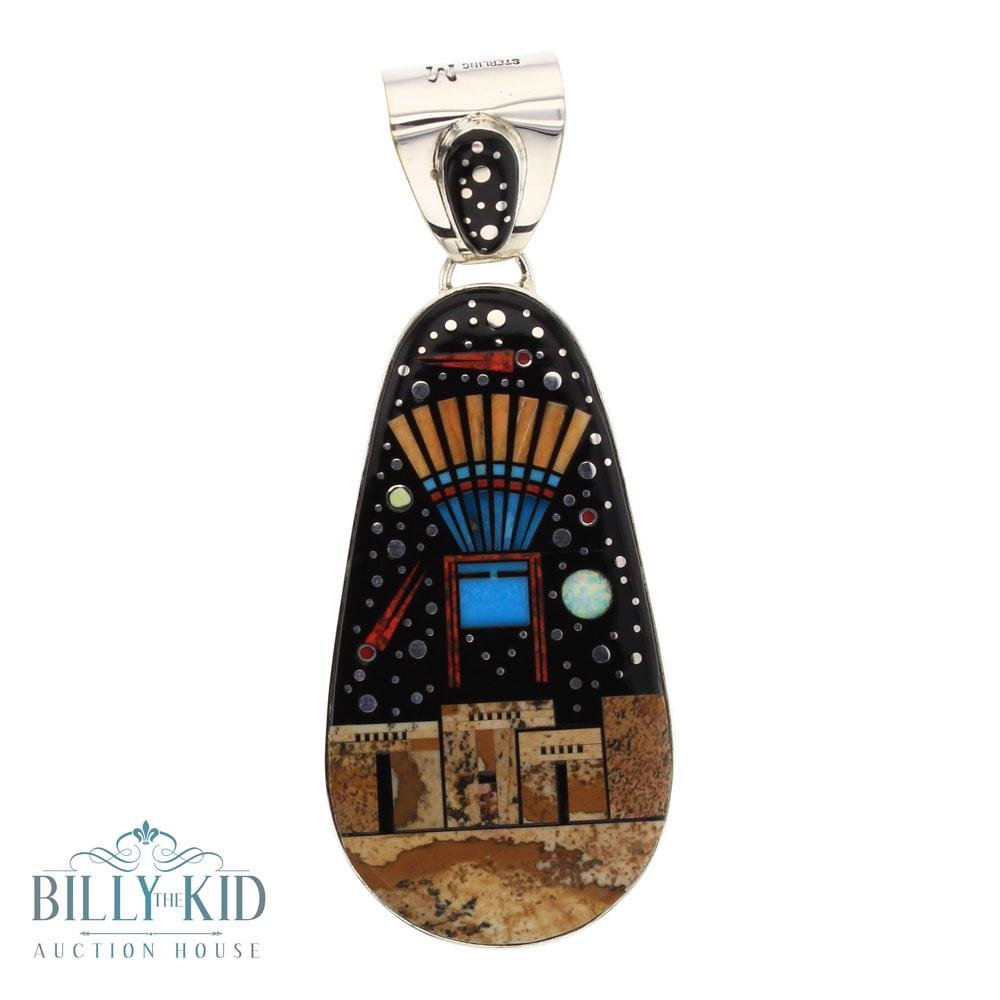 Mathew Jack Mixed Stone Nigh Sky Pueblo Inlay Pendant