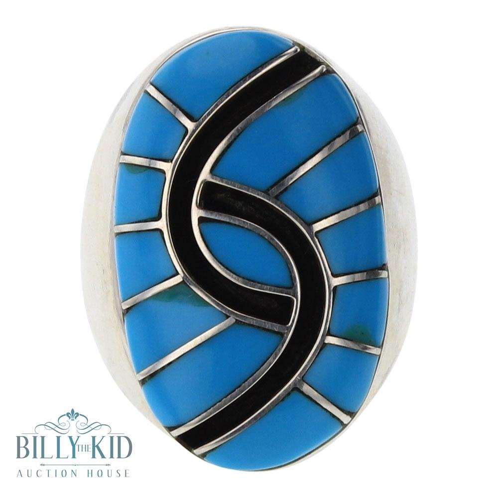 Amy Quandelacy Sleeping Beauty Turquoise Zuni Inly Ring