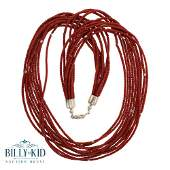 10 Strand Bamboo Coral & Silver Heishe Beads