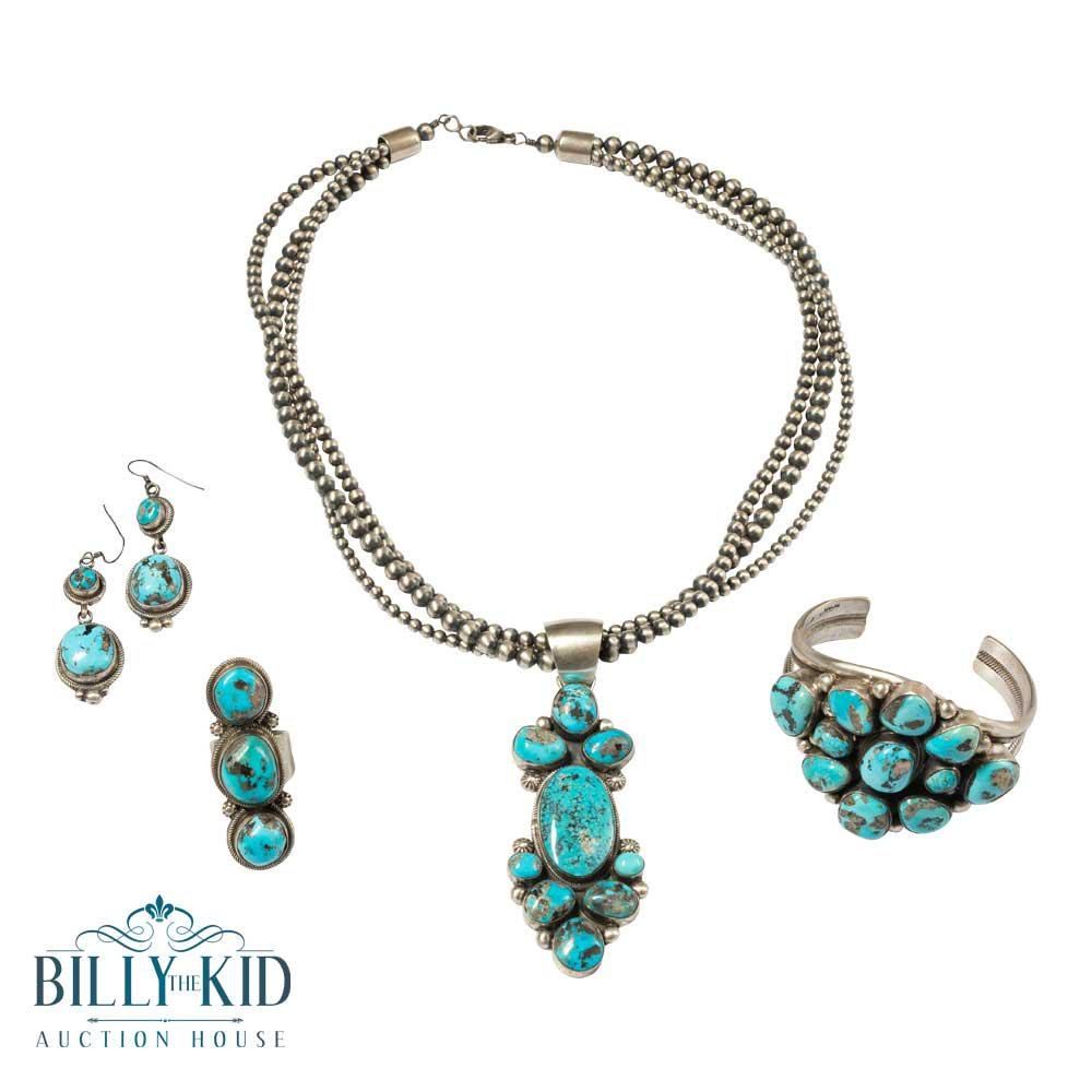 Kathleen Chavez Kingman Turquoise Cluster Necklace