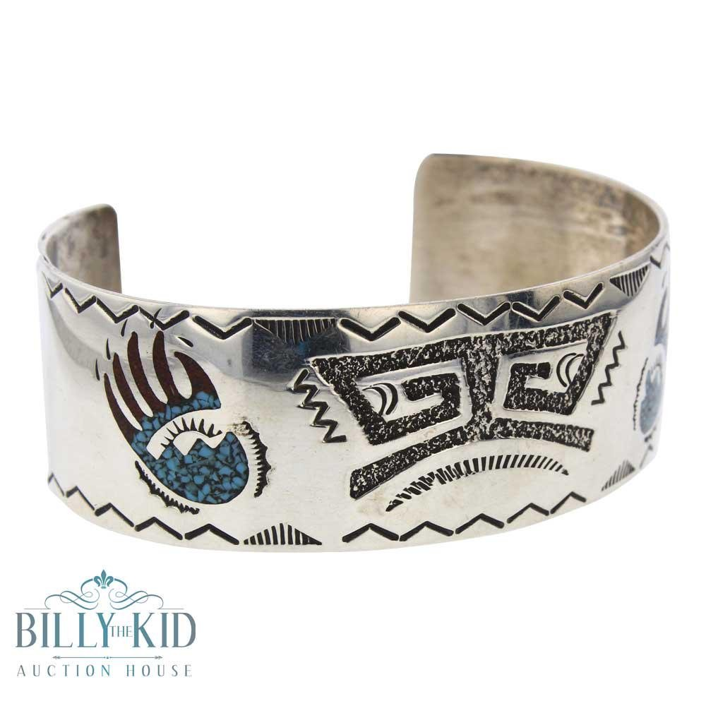 Ray Begay Turquoise Chip Inlay Cuff  Bracelet
