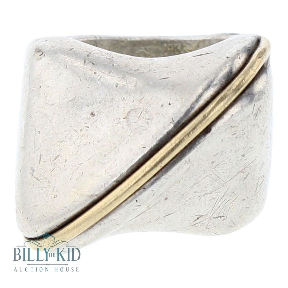 Vintage 14k Gold & Sterling JAD Italian ring
