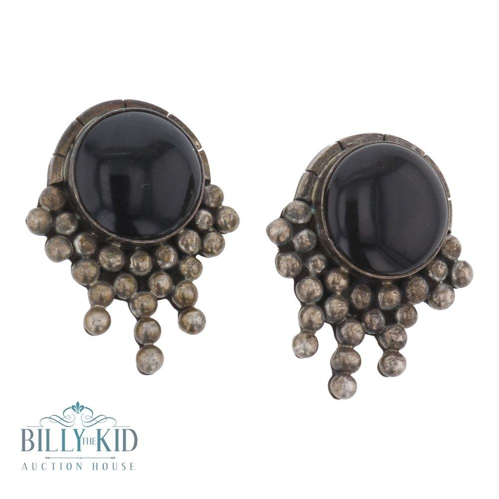 Vintage Mexican Black Onyx clip on earrings