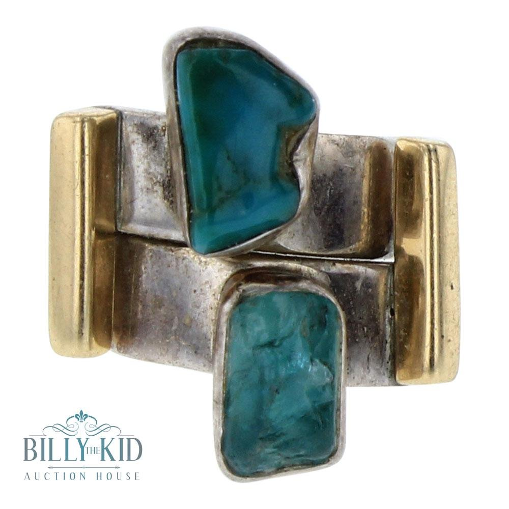 Lilly Barrack Vintage 14K Gold Accent & Turquoise Ring