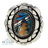 Vintage Turquoise & Spiny Oyster Inlay Ring