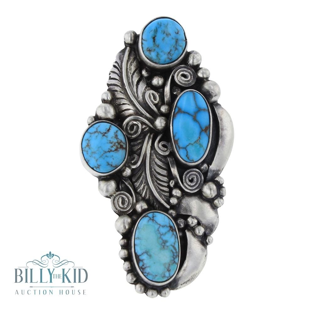 Bob Becenti Candelaria Turquoise Leaf Ring