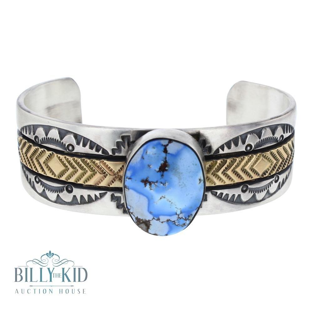 14K Gold & Silver Golden Hill Turquoise Wide Cuff