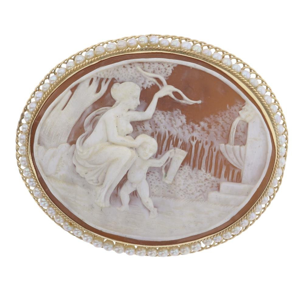 Vintage 14K Gold Seed Pearls & Hand Carved Cameo Pin