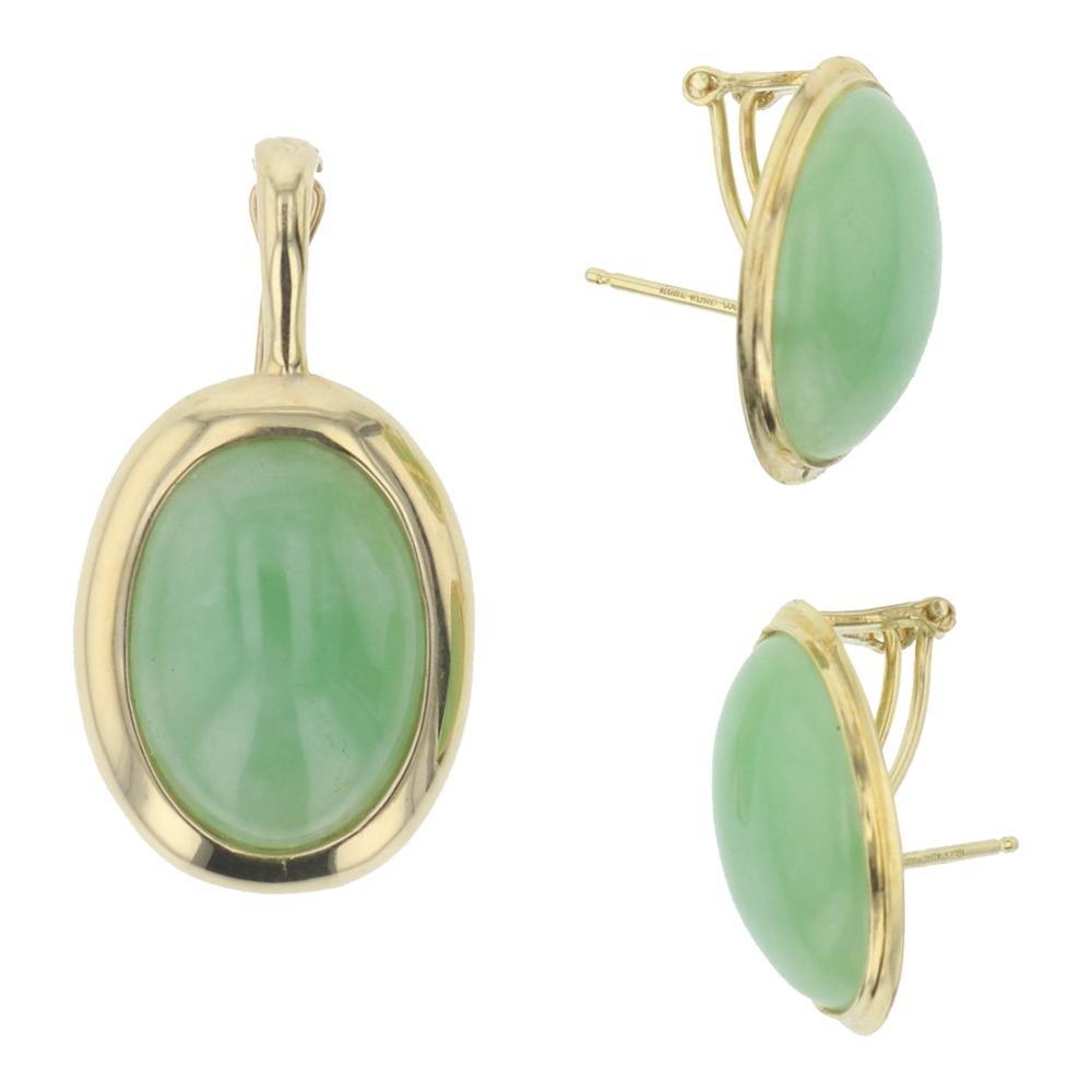 Vintage 14K Gold Jade Pendant & Earrings Set