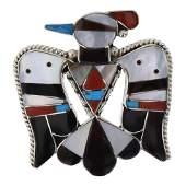 BC Shack Vintage Mixed Stone Thunderbird Brooch Pin