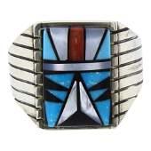 SB Vintage Mixed Stones Mens Inlay Ring