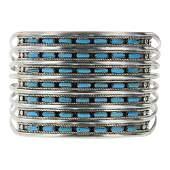 Vintage Turquoise Petite Point Seven Row Cuff Bracelet