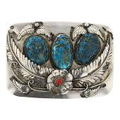 Nickel Silver Turquoise  Coral Belt Buckle