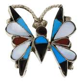 Mixed Stones Butterfly Pin