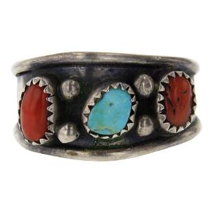 Vintage Nevada Turquoise & Coral Ring