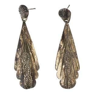 LL Vintage Pawn Chandelier Style Plain Silver Earrings