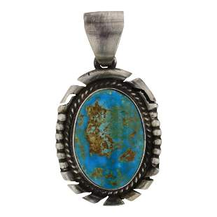 Peggy Skeets Turquoise Mountain Turquoise Pendant
