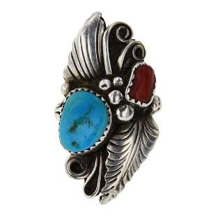 Vintage Turquoise & Coral Ring