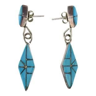 Vintage Turquoise Zuni Inlay Diamond Shape Earrings