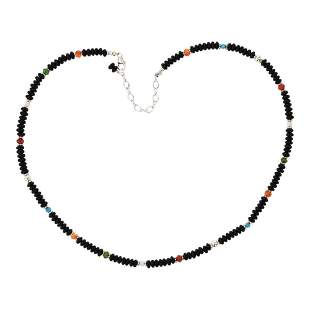 Navajo String Beads Black Onyx & Mixed Stone Necklace