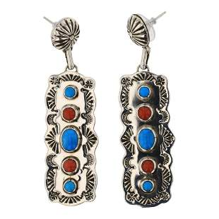 Jeff James Jr. Turquoise & Coral Earrings