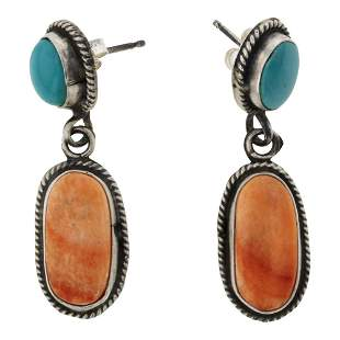 Eleanor Largo Spiny Oyster & Turquoise Earrings
