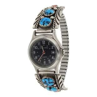 Vintage Turquoise & Coral Watch bracelet