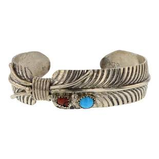 Vandeveer Turquoise & Coral Feather Cuff Bracelet
