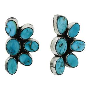 Ella Peters Nevada Turquoise Half Cluster Earrings