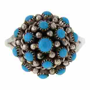 Sleeping Beauty Turquoise Zuni Inlay 3D Cluster Ring
