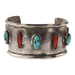 Old Pawn Turquoise Coral & Mother of Pearl Wide Cuff