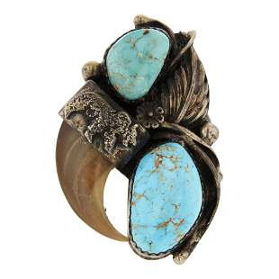 Old Pawn Nevada Turquoise & Bear Claw Ring